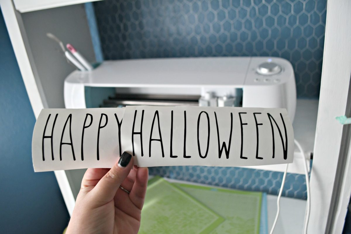 DIY Rae Dunn Inspired Halloween Decor - Happy Halloween lettering