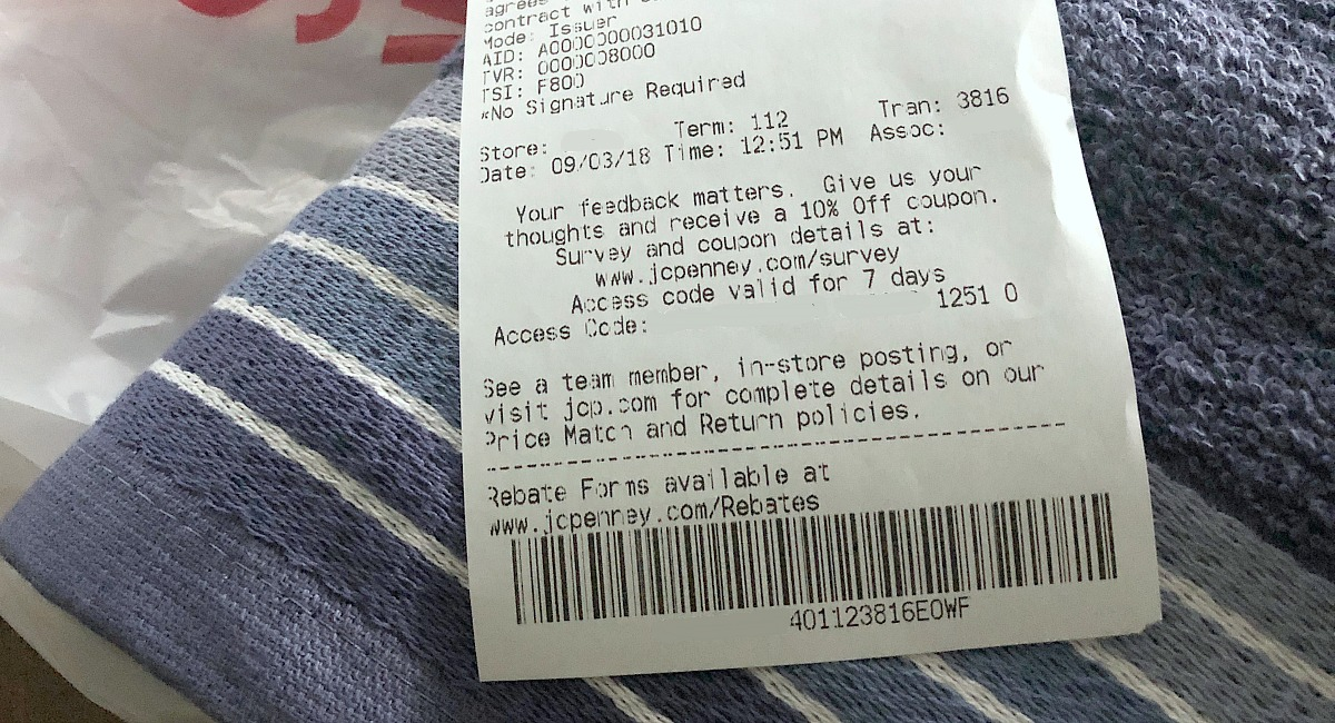 The best ways to shop and save with these jcpenney shopping tips — shopping receipt with 10% off discount at bottom