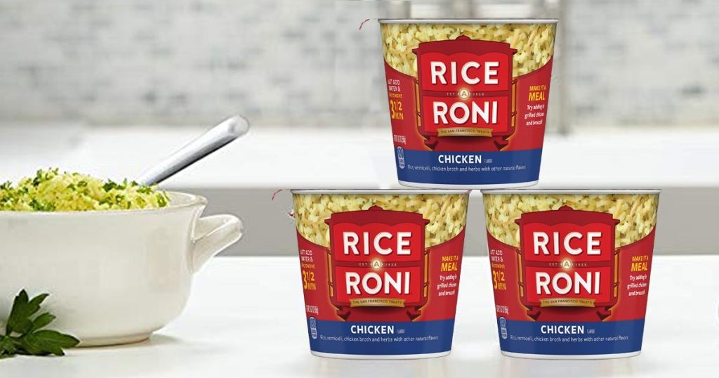 rice a roni cups on counter next to bowl
