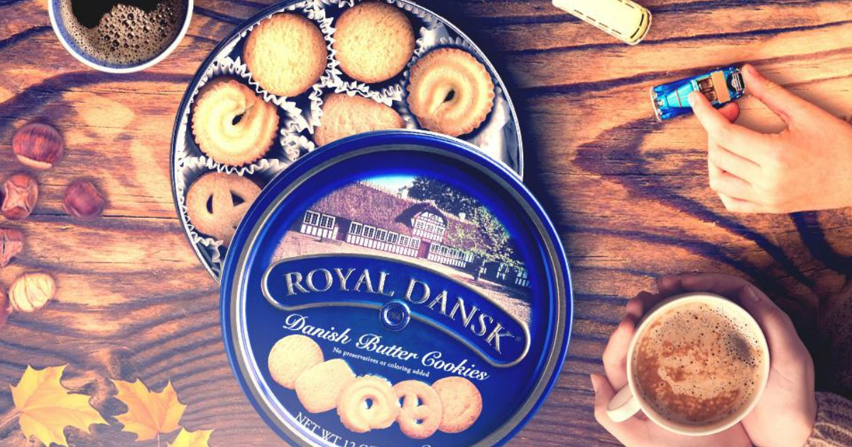 royal dansk cookie tin on table