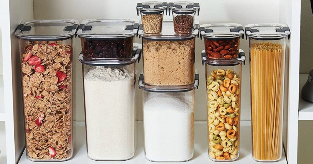 rubbermaid brilliance pantry storage full of dry goods