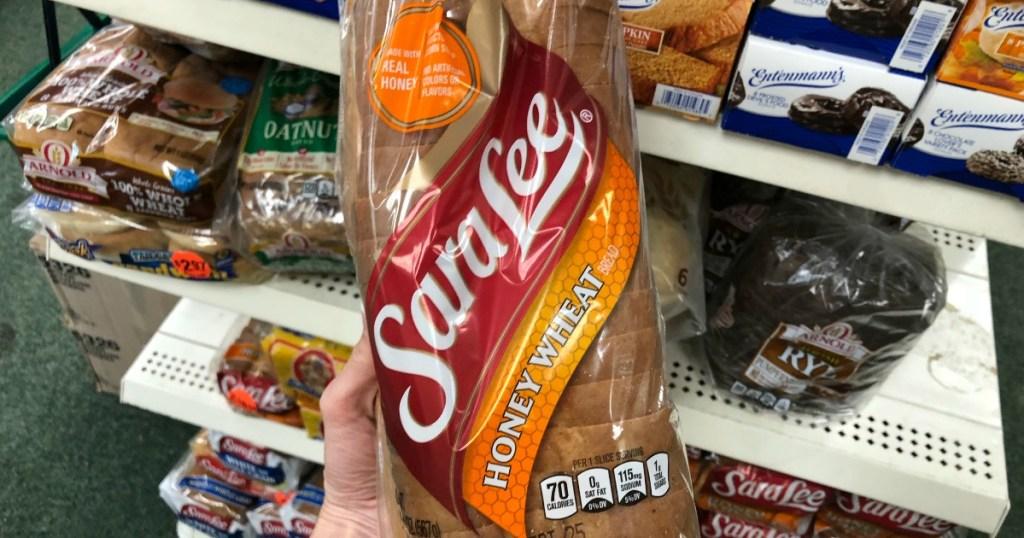 holding Sara Lee bread