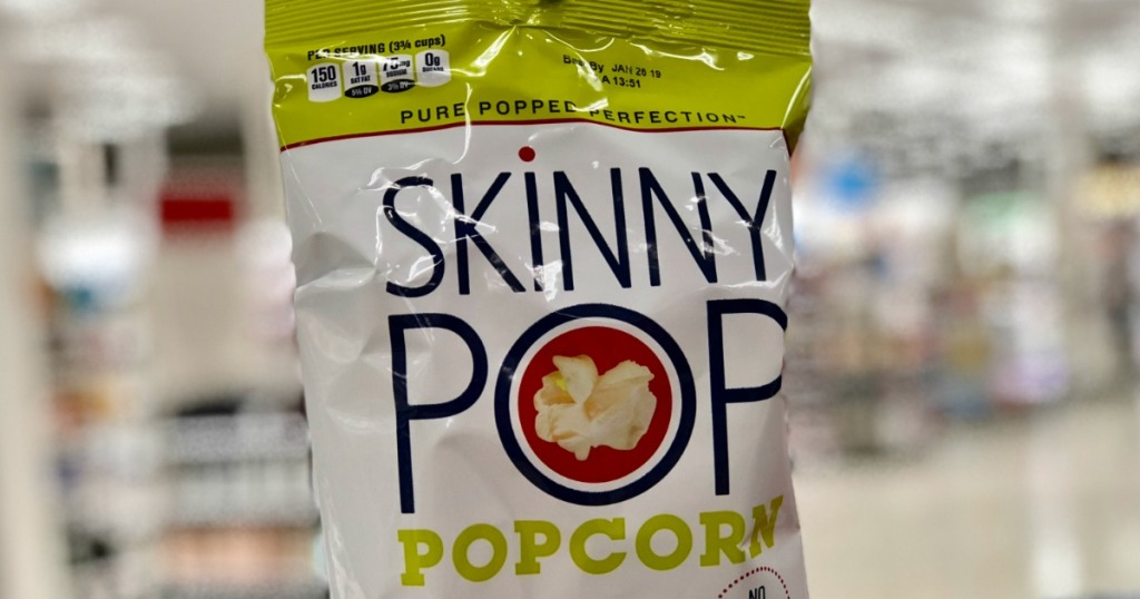 skinny pop popcorn with blurred background
