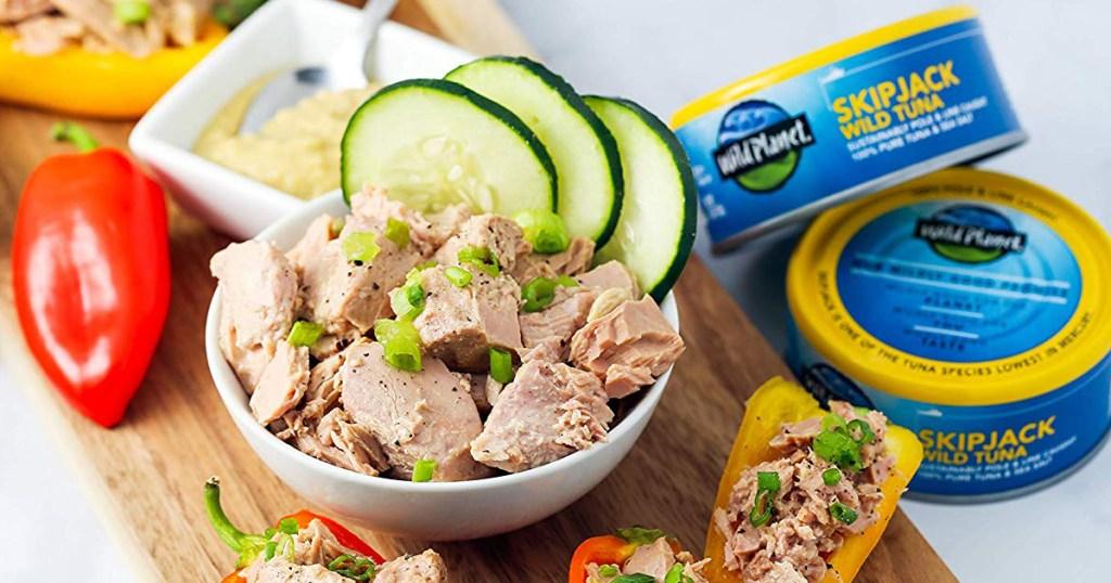 Bowl of Tuna with SkipJack Tuna cans