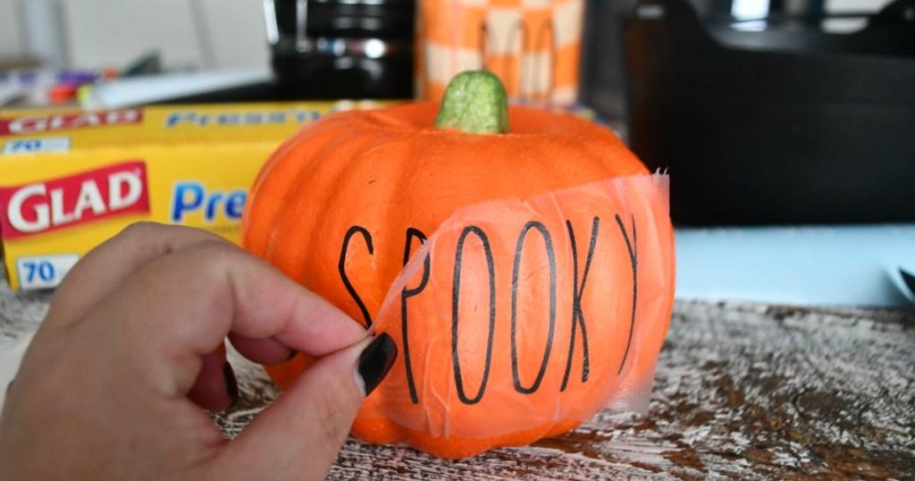 DIY Rae Dunn Inspired Halloween Decorations – a spooky pumpkin