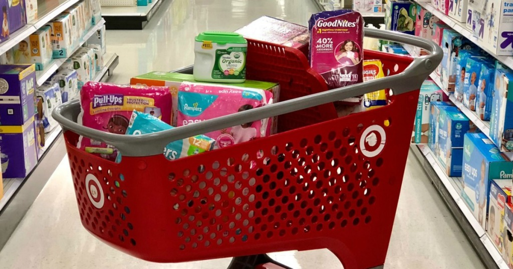 baby items in a Target cart