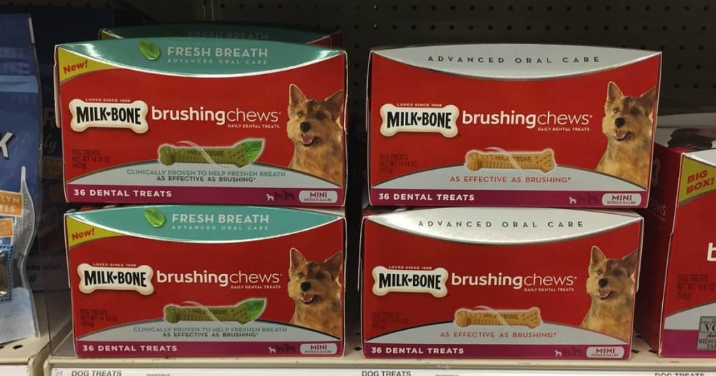 milk-bone brushing chews on store shelf