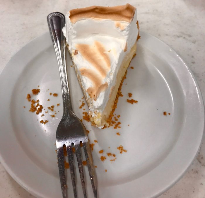 The benefits of fast food jobs – free or half priced foods, like this pie