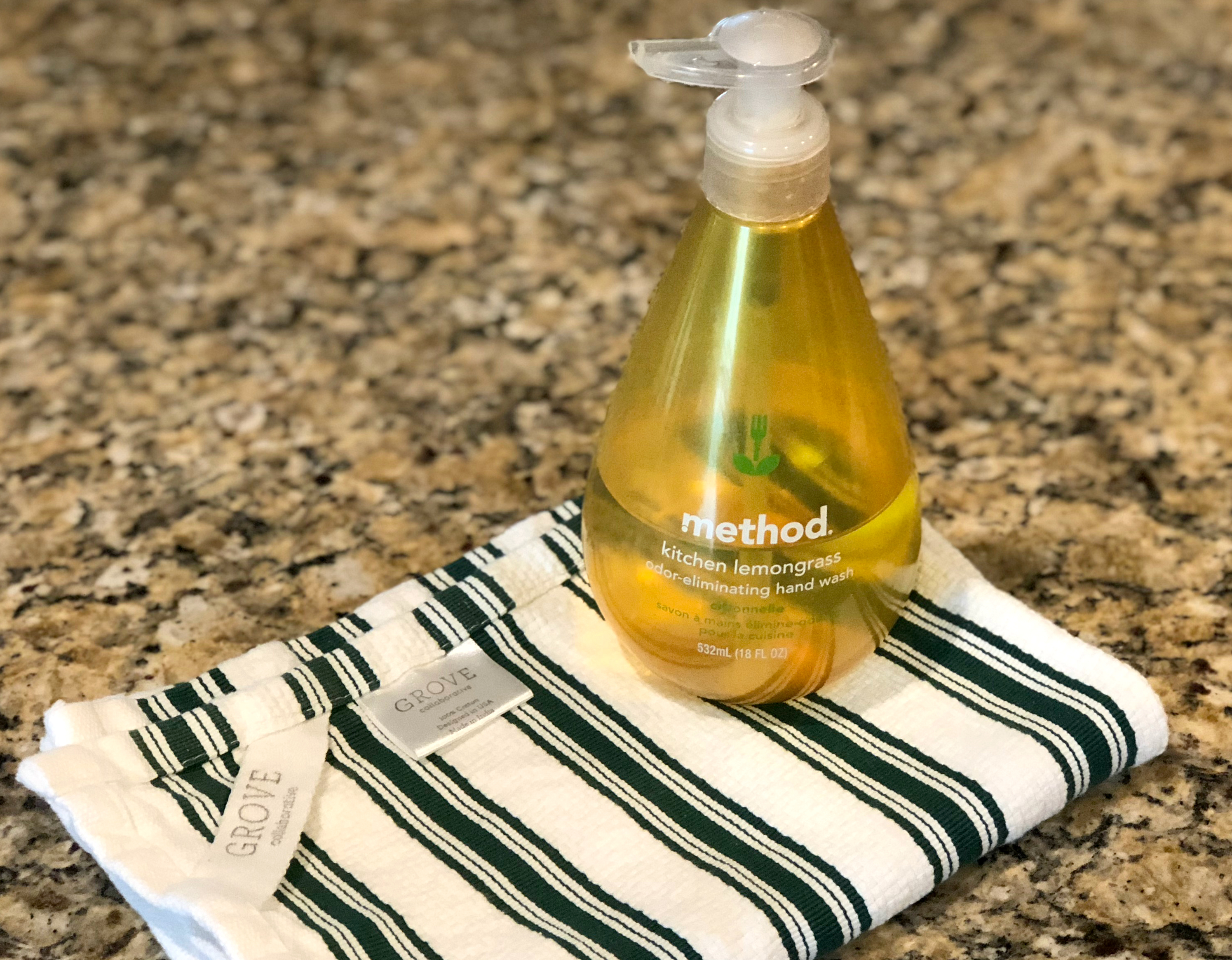 Mrs. Meyer's fall seasonal scents are available at The Grove in free gift sets! Pictured here is hand soap.