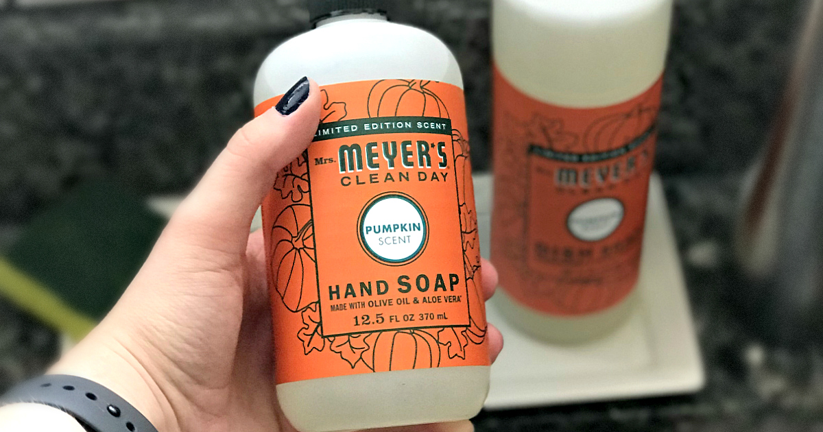 Fall Cleaning Deal: Mrs. Meyer's fall seasonal scents like these pumpkin scented hand soaps are available at The Grove!