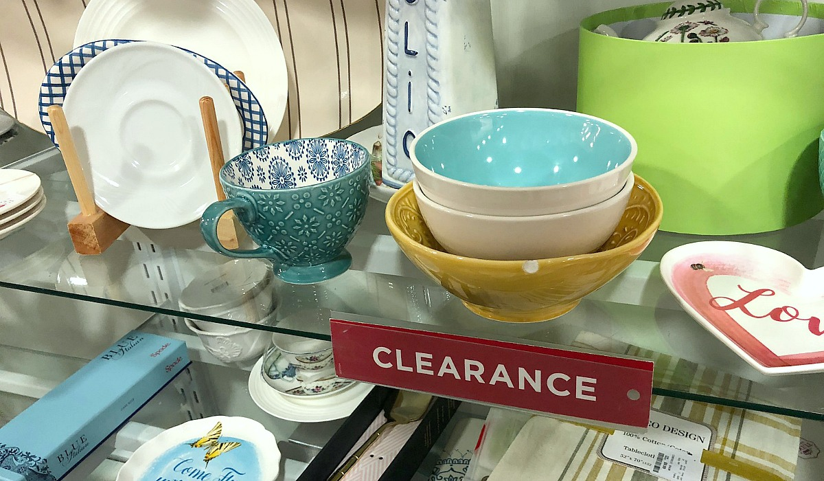favorite t.j.maxx things to shop — clearance shelf with bowls and other dishware