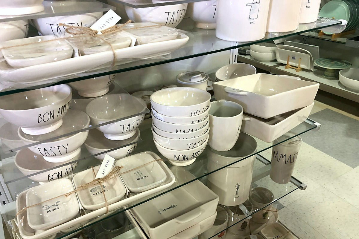 favorite t.j.maxx things to shop — assortment of rae dunn dishware