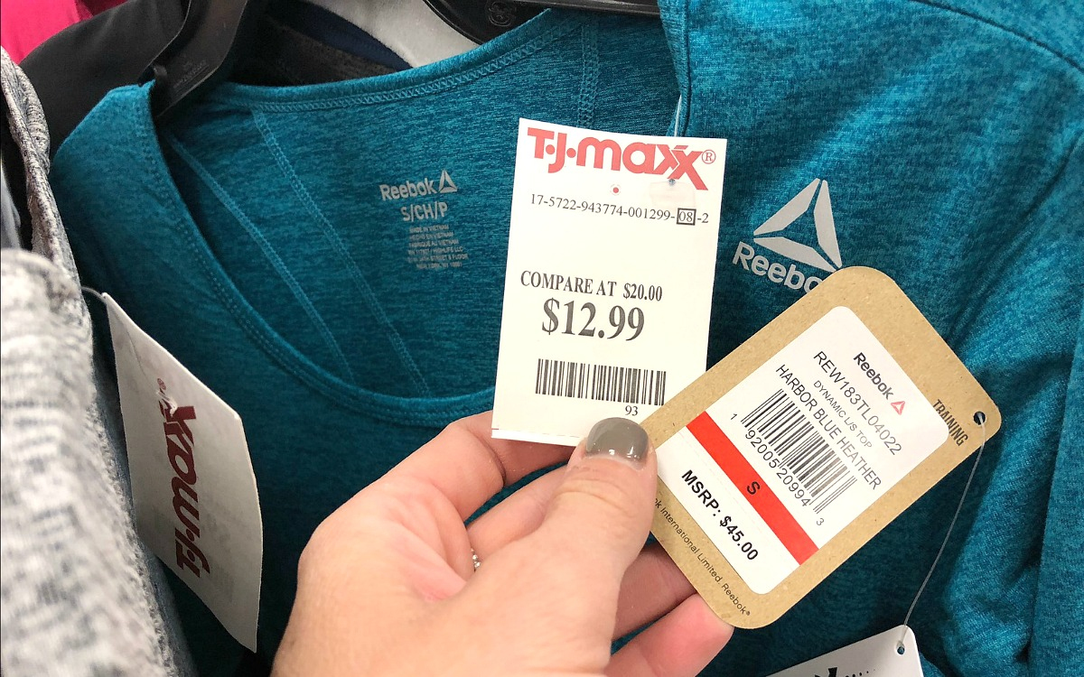 my favorite things to shop at t.j.maxx — workout clothes price comparison of reebok athletic shirt