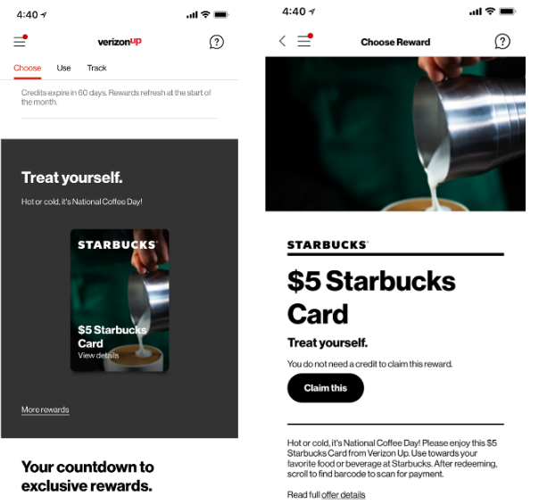 Free $5 Starbucks eGift Card For Select Verizon Up Rewards