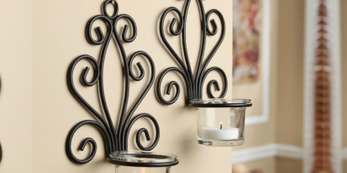 TWO Mainstays Scroll Wall Sconce Candleholders Only $5.26 (Just $2.63 Each)