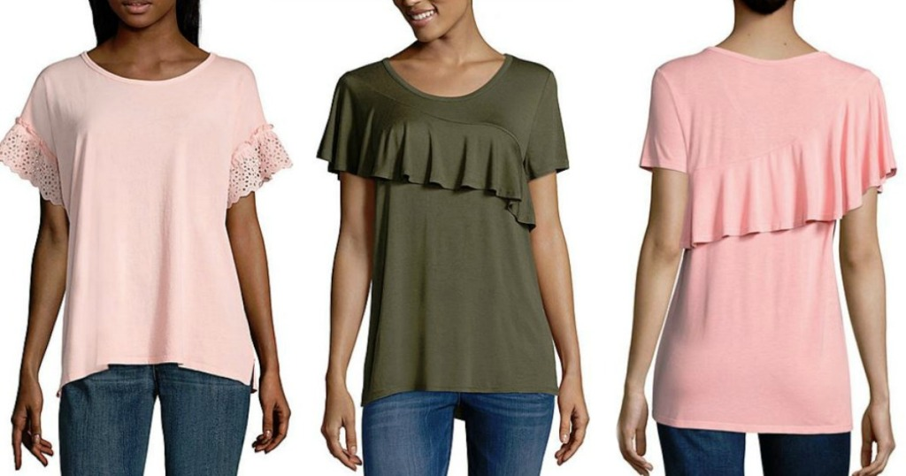 b75b25c737152 Hop on over to JCPenney.com where you can score some great deals on women s  clearance tops!