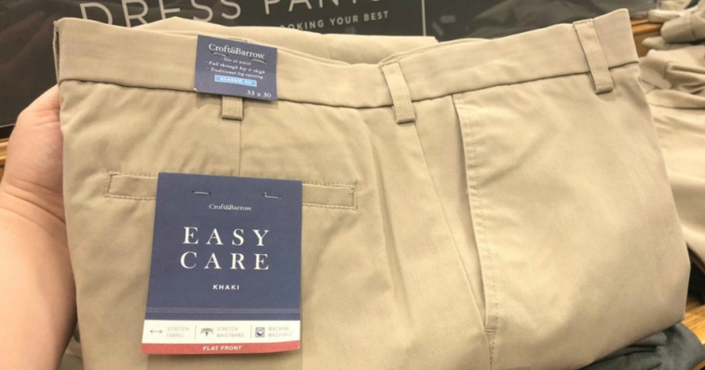 240555b2 Through October 28th, hop on over to Kohls.com where you'll find select Men's  Croft & Barrow Easy Care Khaki Pants on sale for $19.99 each or 2/$35 ...