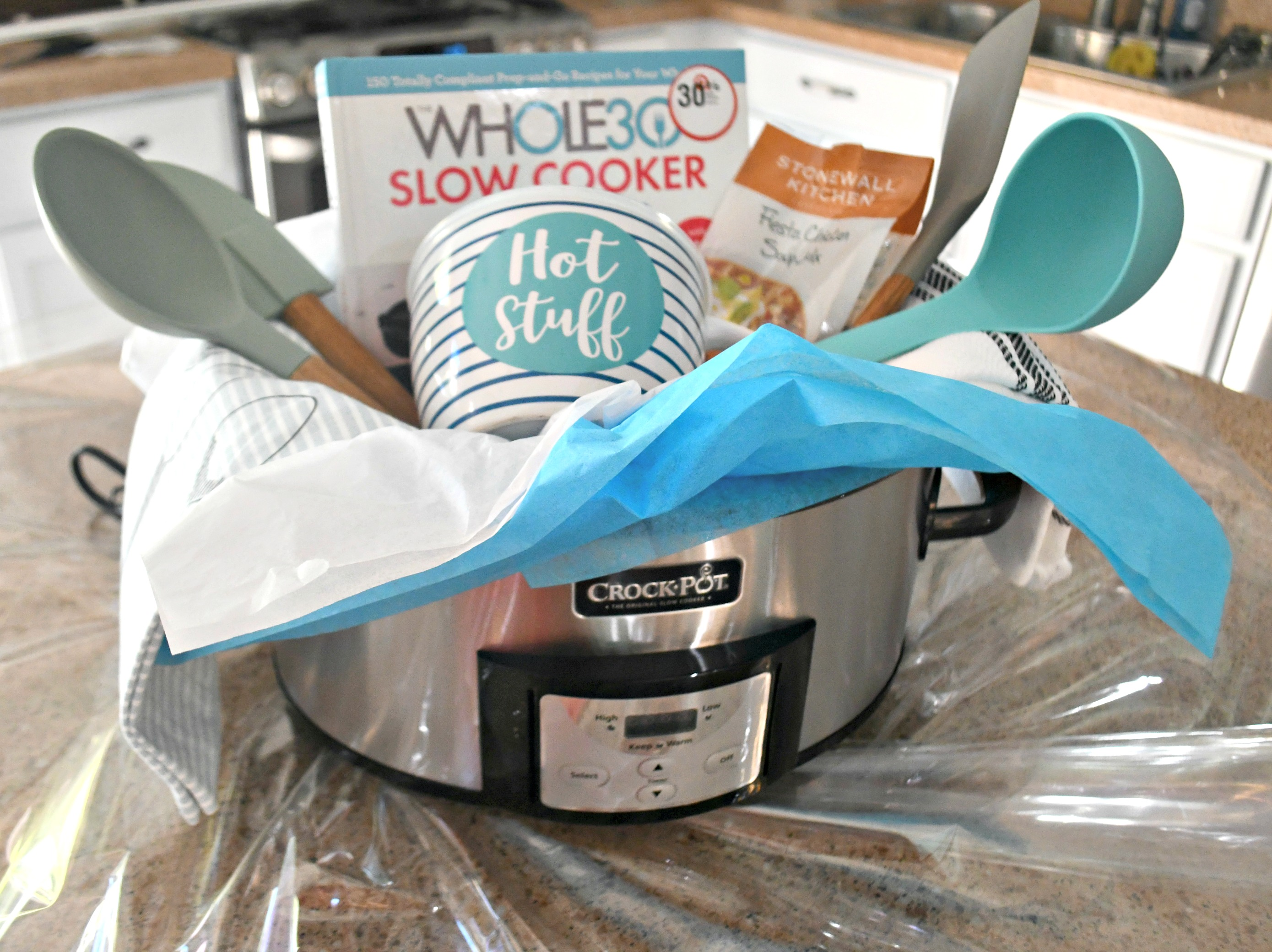 diy gift slow cooker gift basket – everything in the crock pot gift basket