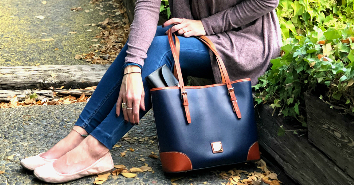 Giveaway Dooney & Burke tote and clutch – Collin holding the tote and clutch
