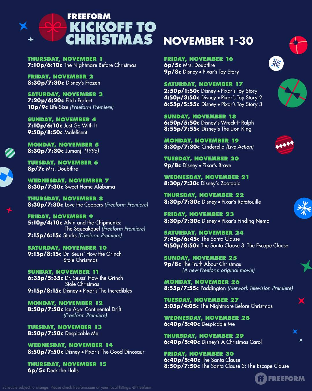 Freeform 2018 Kickoff to Christmas movies – Christmas movie Schedule