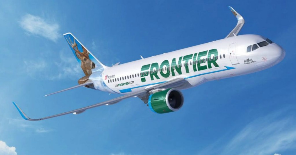 Frontier Airlines plane in the sky