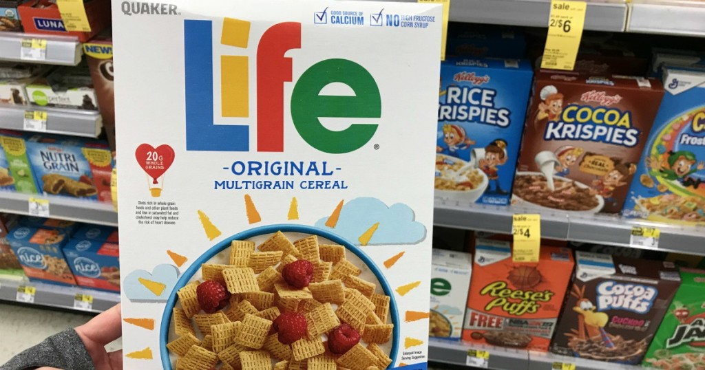 life cereal in front of shelf