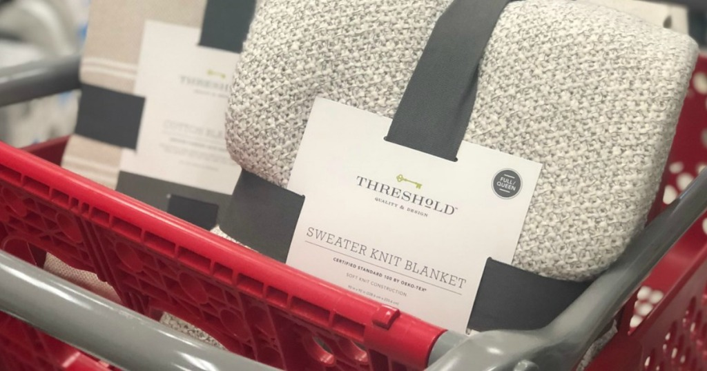 Threshold knit blankets in Target cart