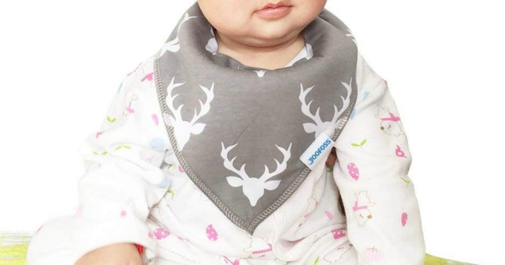 baby wearing gray and white deer Yoofoos baby bib