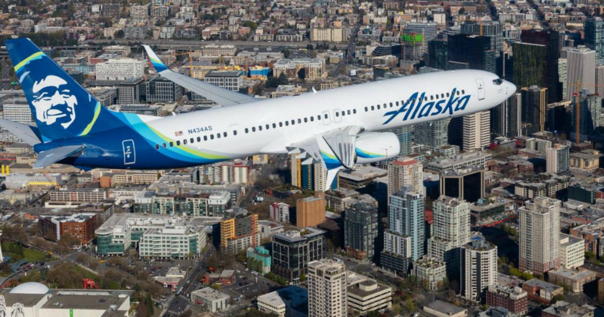 Alaska Airlines airplane in the sky