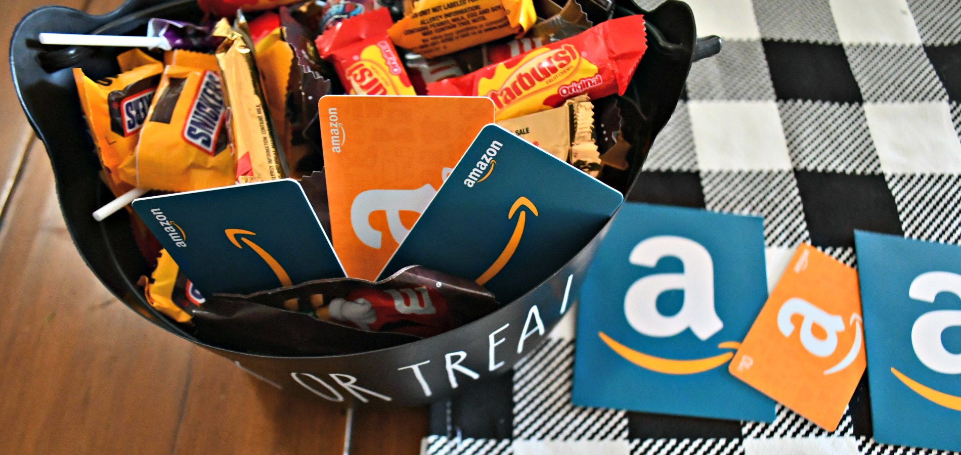 share your favorite products and you could win an Amazon gift card – Trick or Treat basket with candy and Amazon gift cards