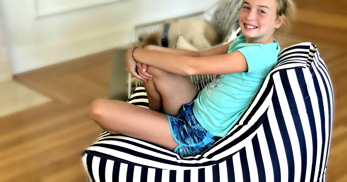 win this juniper bean bag chair or score a deal – Box Chair with smiling girl sitting on it
