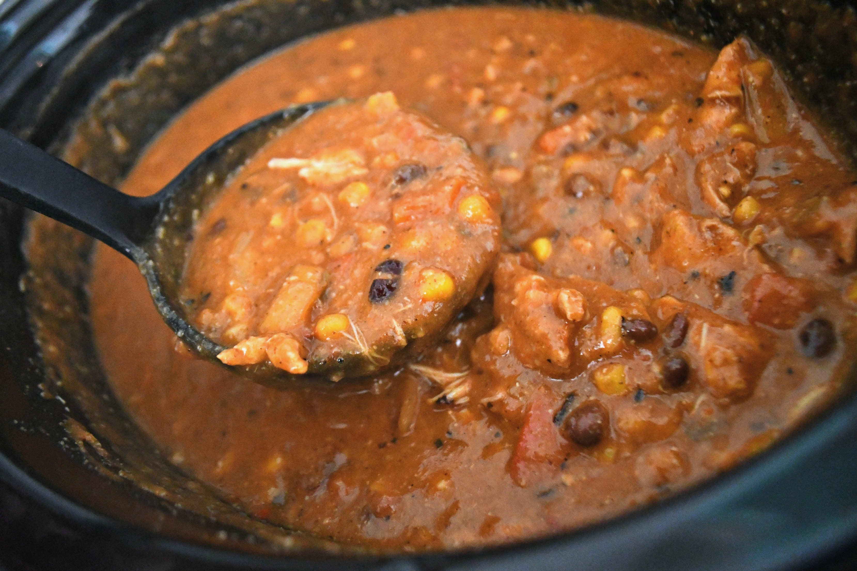Slow Cooker Chicken Enchilada Soup – After cooking and scooped up in a ladle