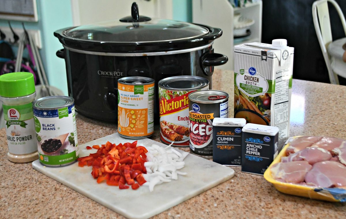 Slow Cooker Chicken Enchilada Soup – the ingredients on the counter