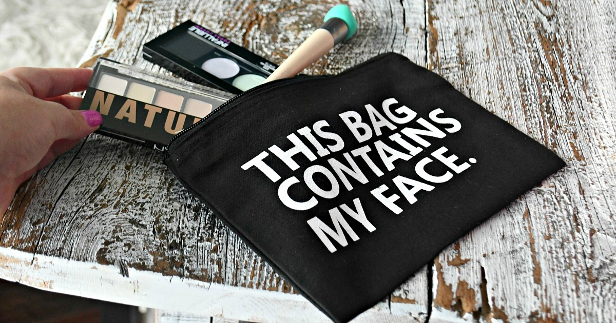 """gift guide for your beauty makeup lover — """"this bag contains my face"""" makeup bag"""