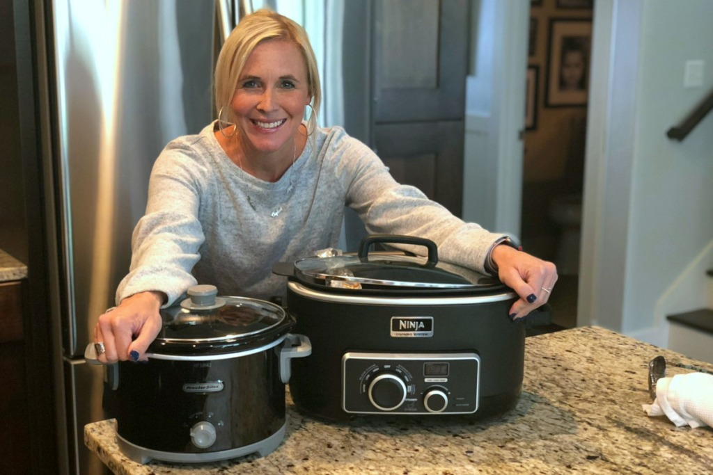 gift guide for cooks and chefs — collin with ninja slowcooker and proctor silex slow cookers