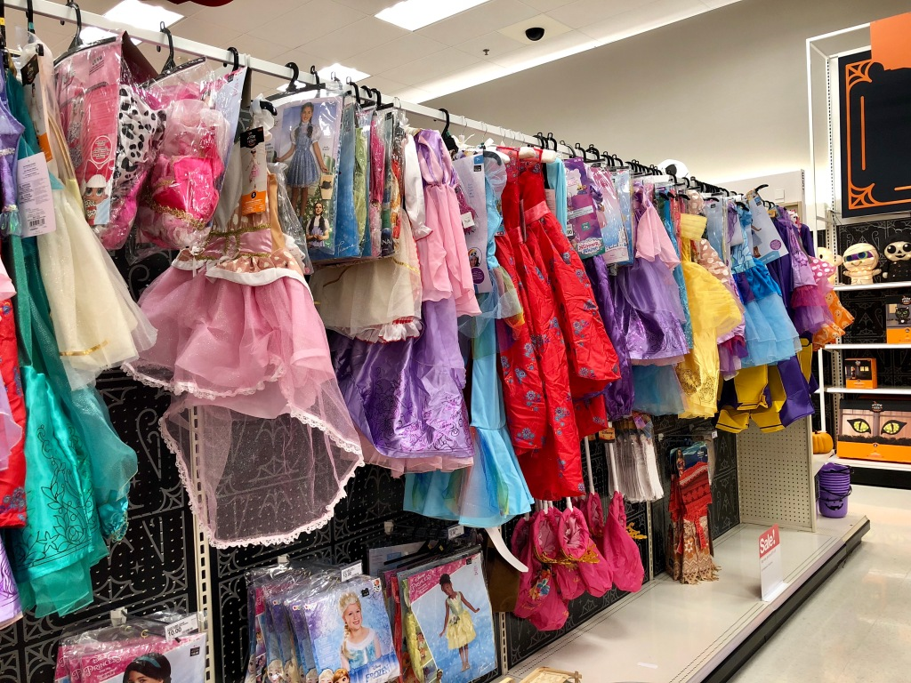 display of Halloween costumes at Target