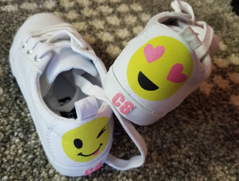 how to shop for a fashionista on a budget – emoji sneakers