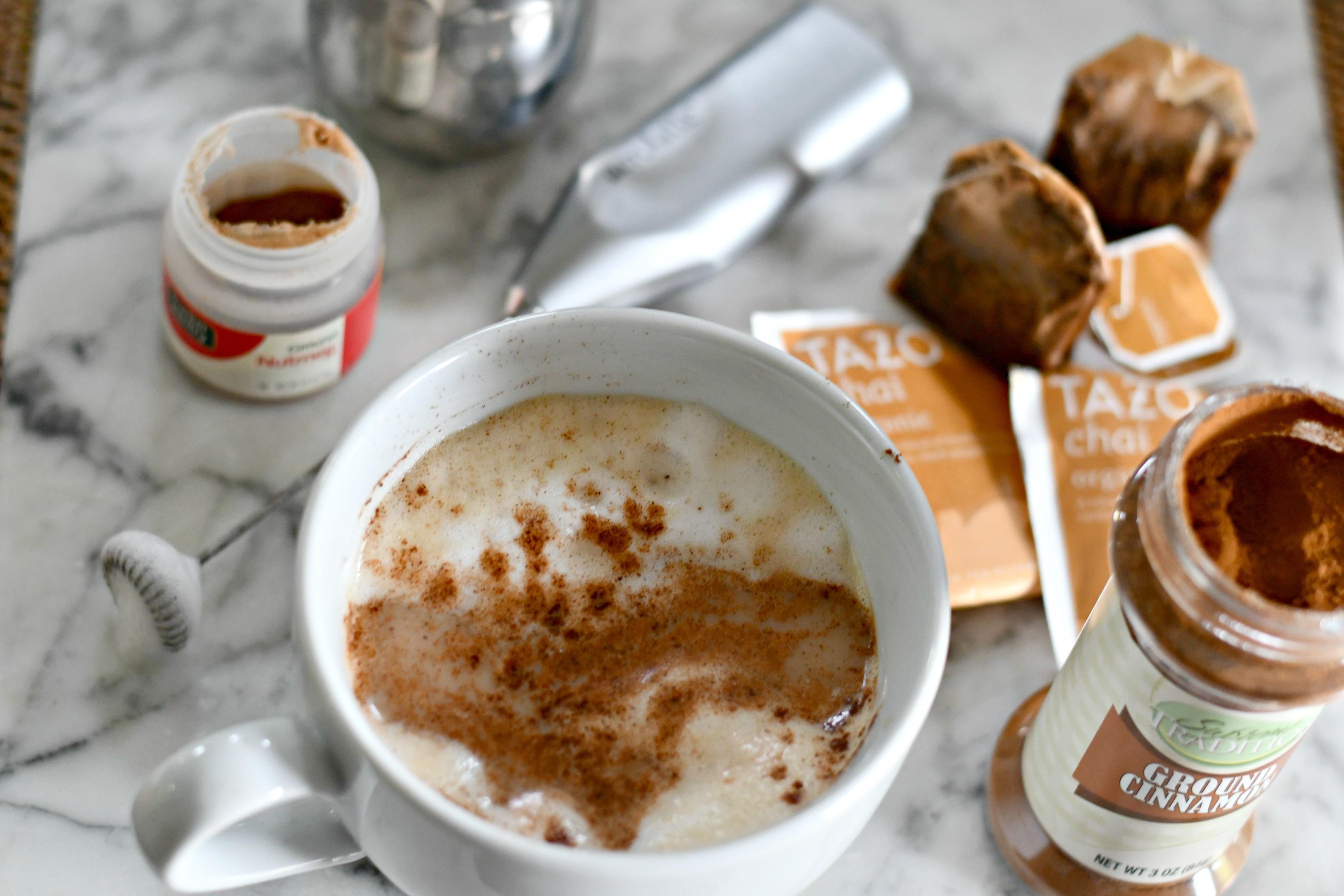 diy starbucks chai latte with cinnamon sprinkled on top
