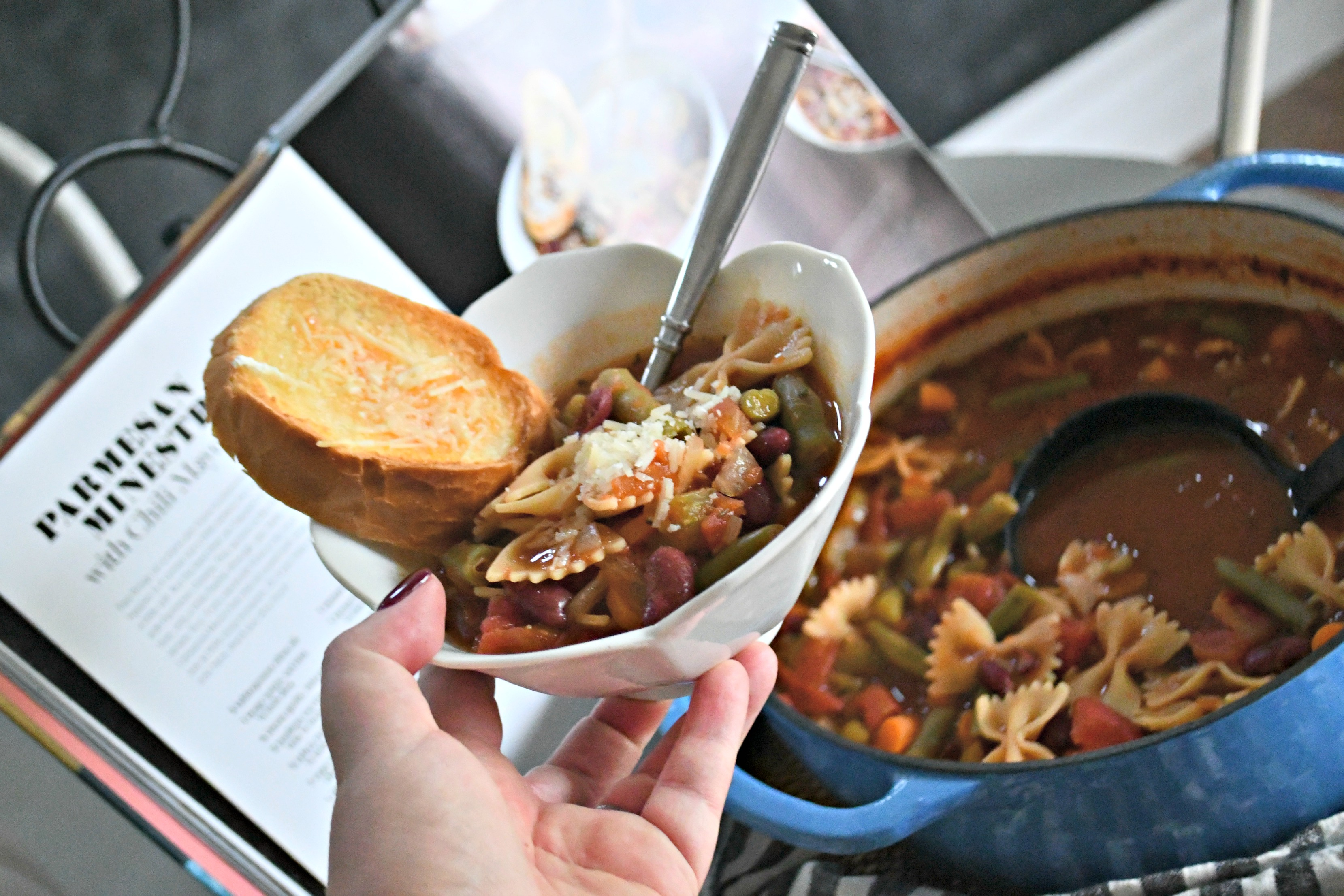 Cravings: Hungry for More Cookbook by Chrissy Teigen – minestrone served in a bowl with bread