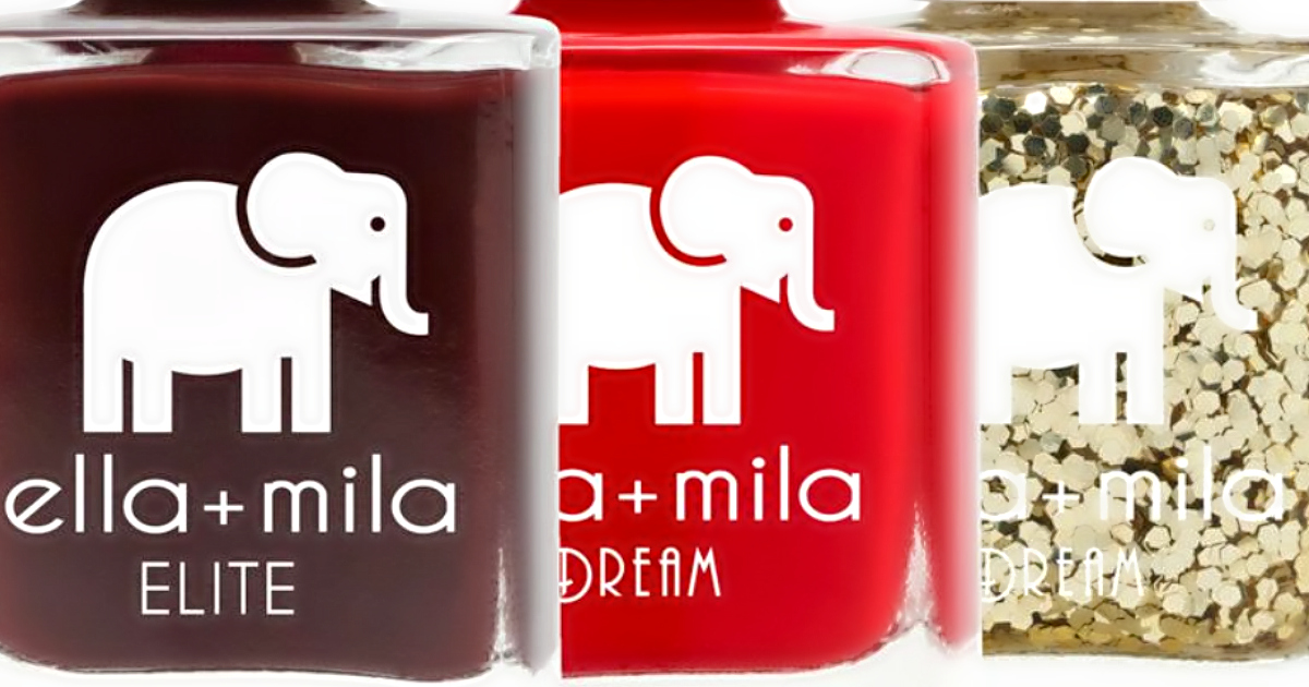 Ella+Mila promo codes are available on holiday nail sets – three colors of nail polish side by side