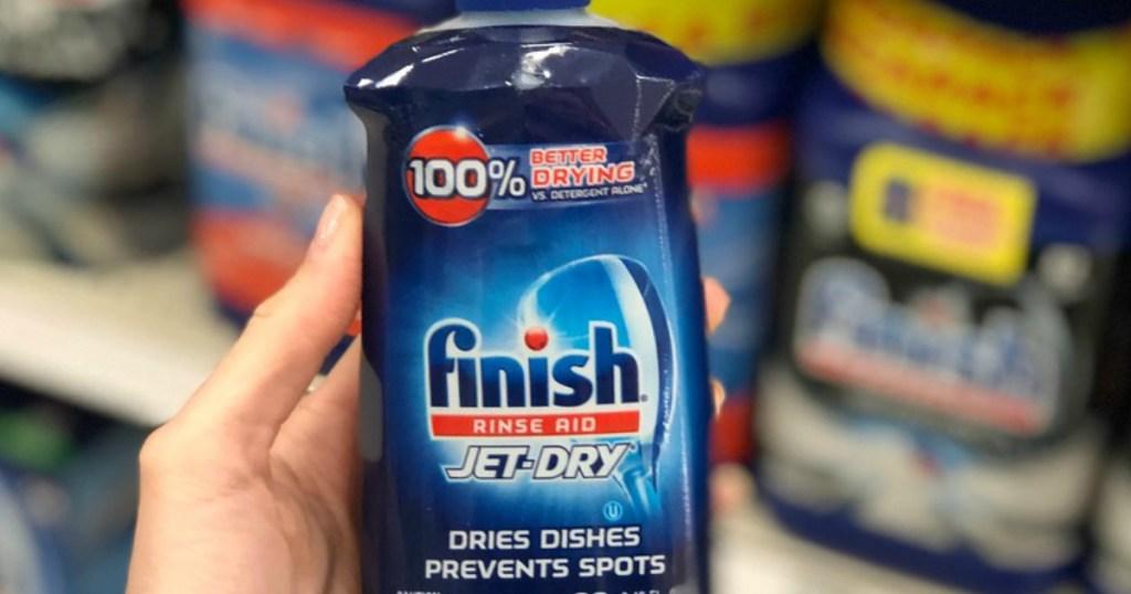 Hand holding Finish Jet Dry