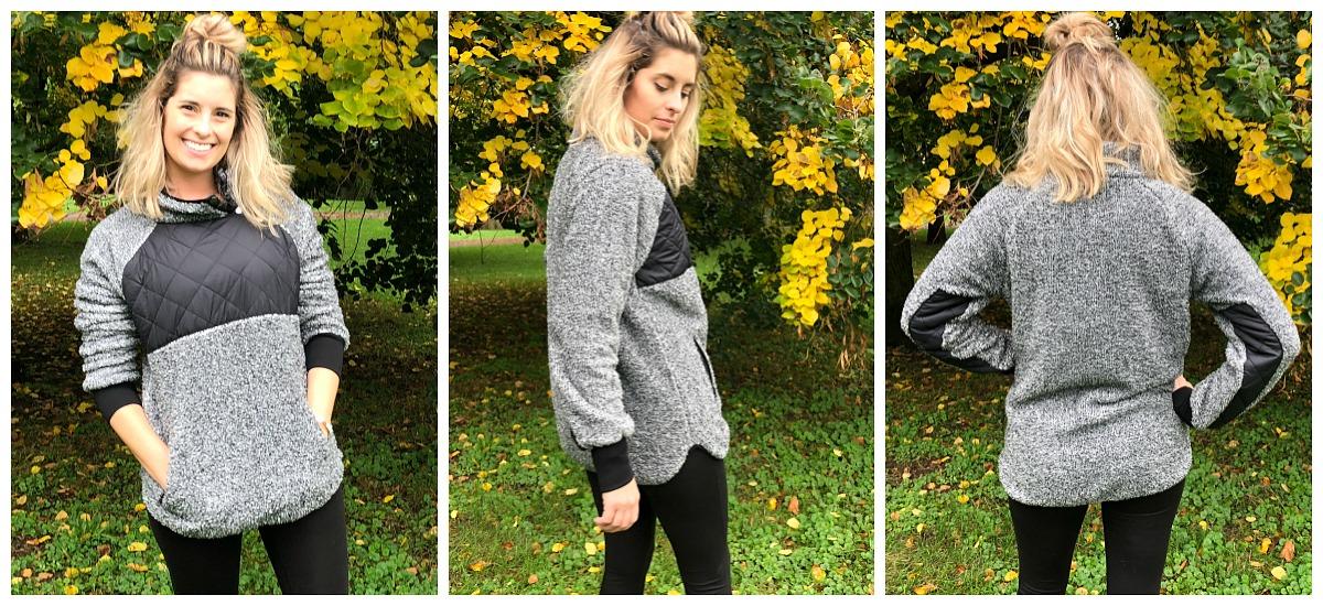Fave fall jacket pick amazon asymmetrical fleece — 360 view of the jacket