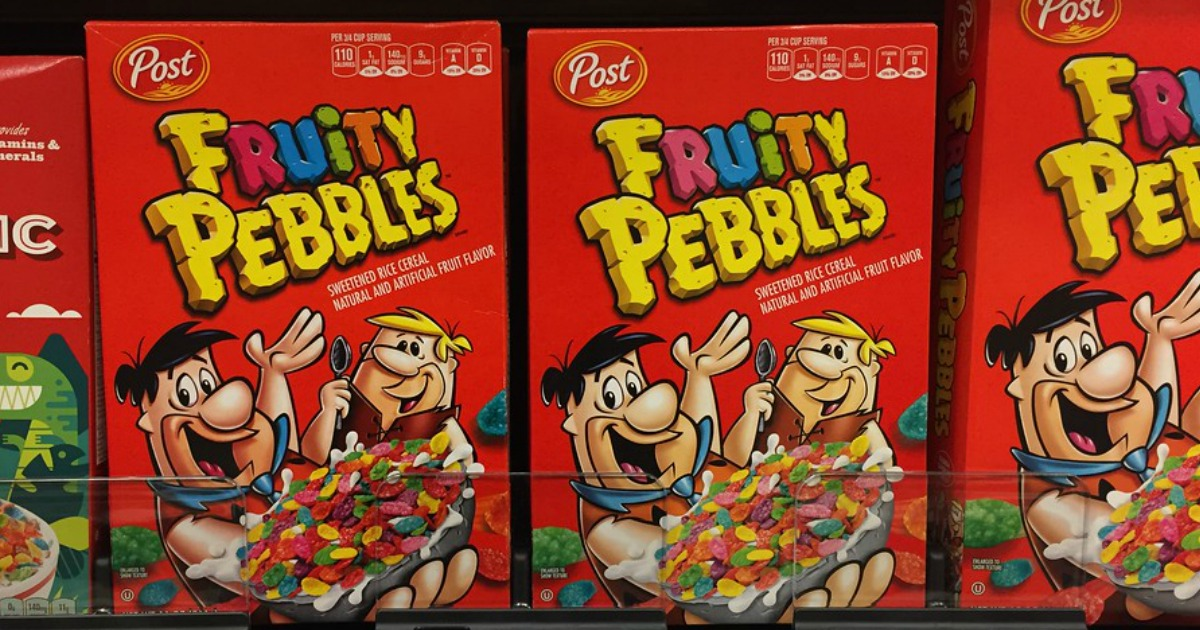 Post Fruity Pebbles cereal boxes on store shelf