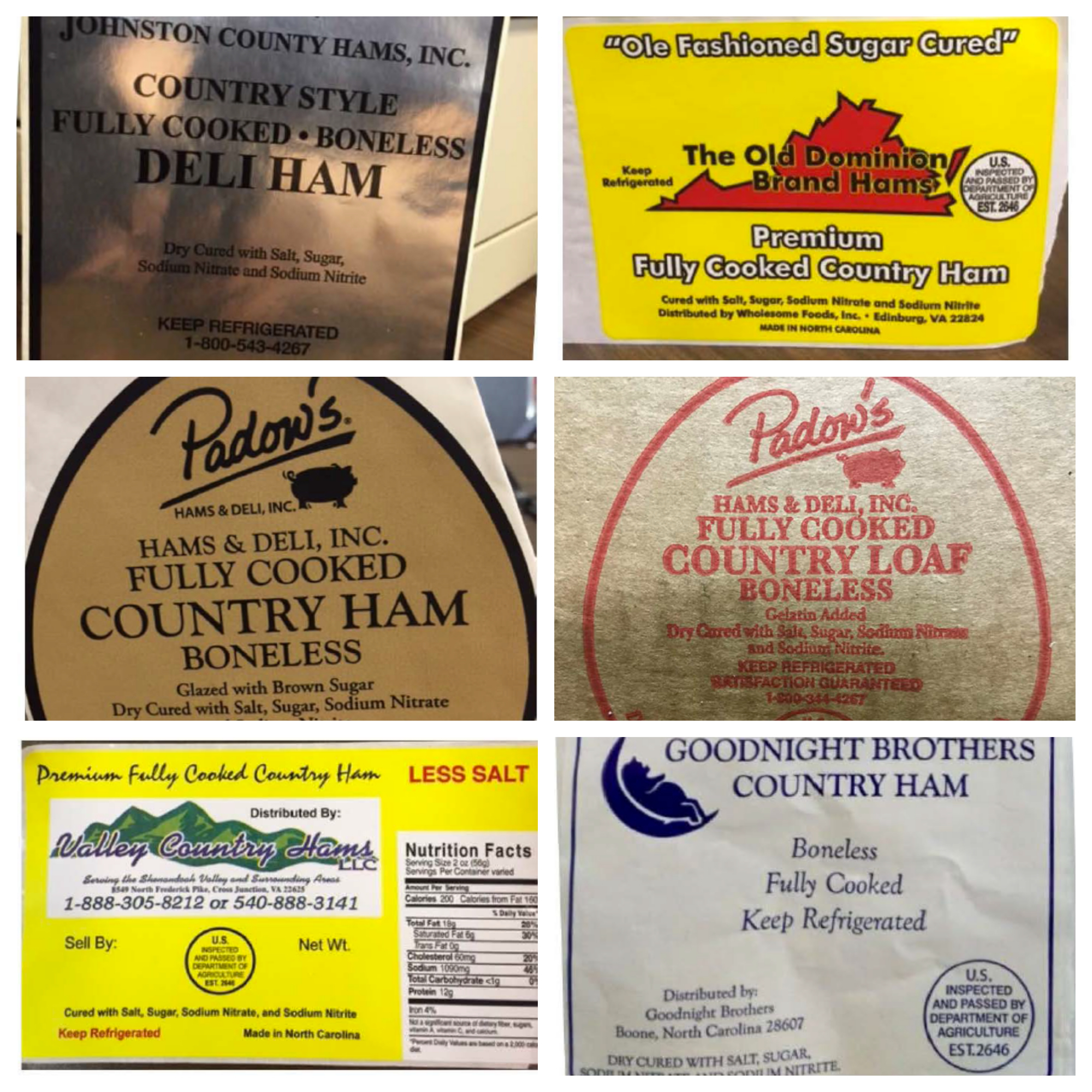 Ham products recalled due to listeria outbreak – Ham recall package labels