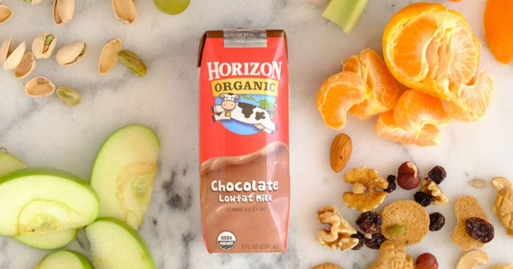 Horizon Organic Chocolate Milk surrounded by fruit and nuts