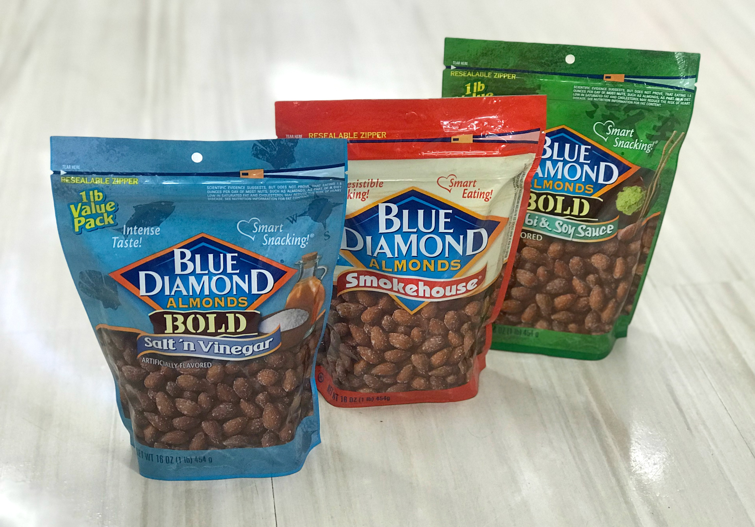 bags of Rite Aid Blue Diamond Almonds in assorted flavors