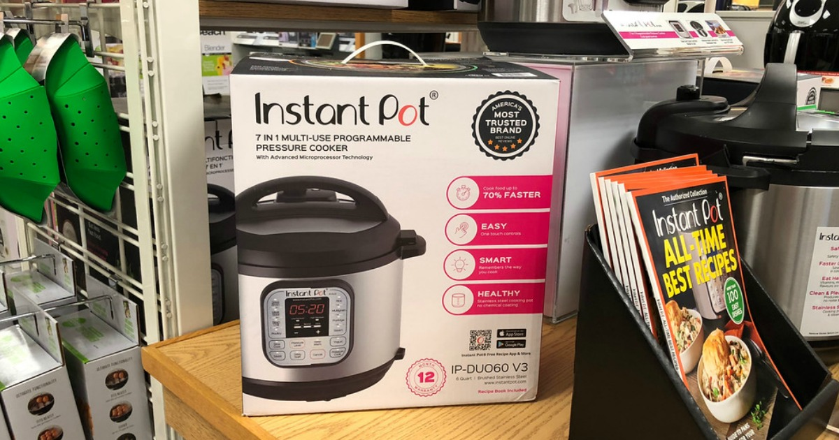 instant pot 7-in-1 pressure cooker on store shelf