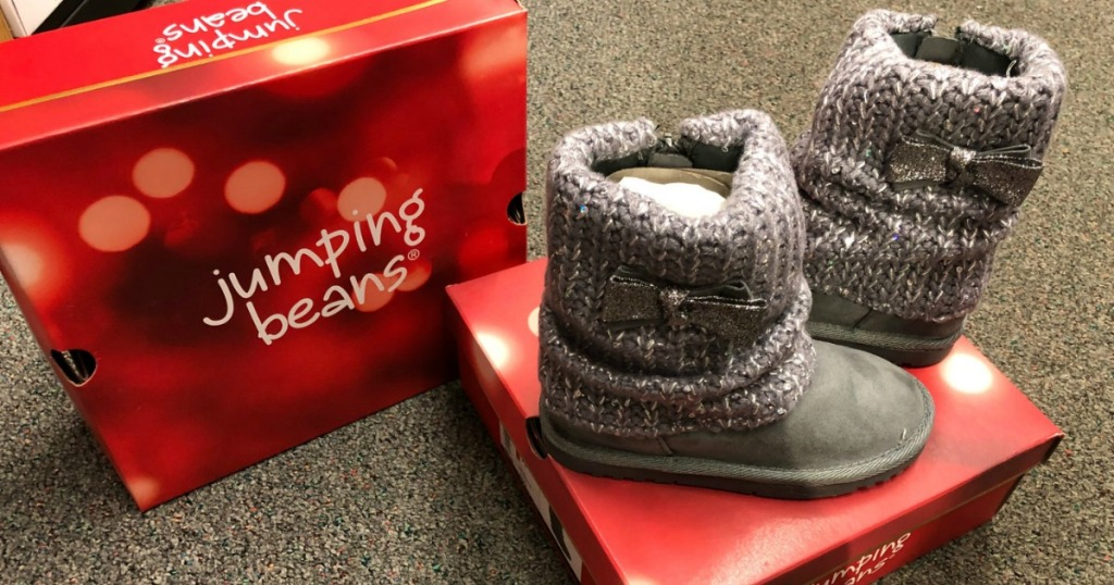 Jumping Beans Toddler Boots Gray on shoe boxes