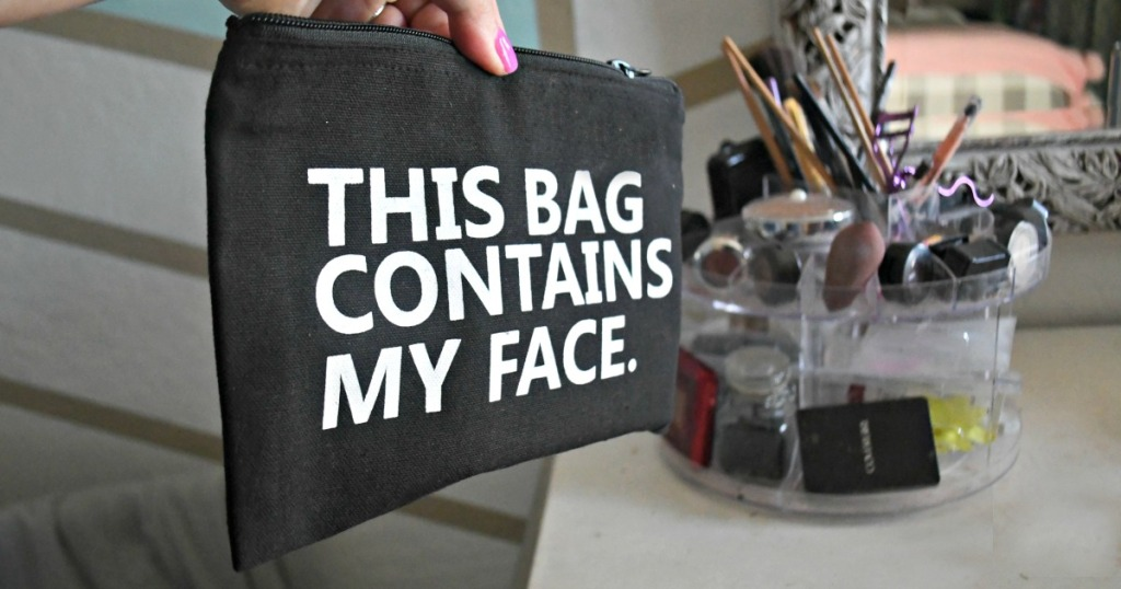 """gift guide for beauty makeup lover — """"this bag contains my face"""" makeup bag"""