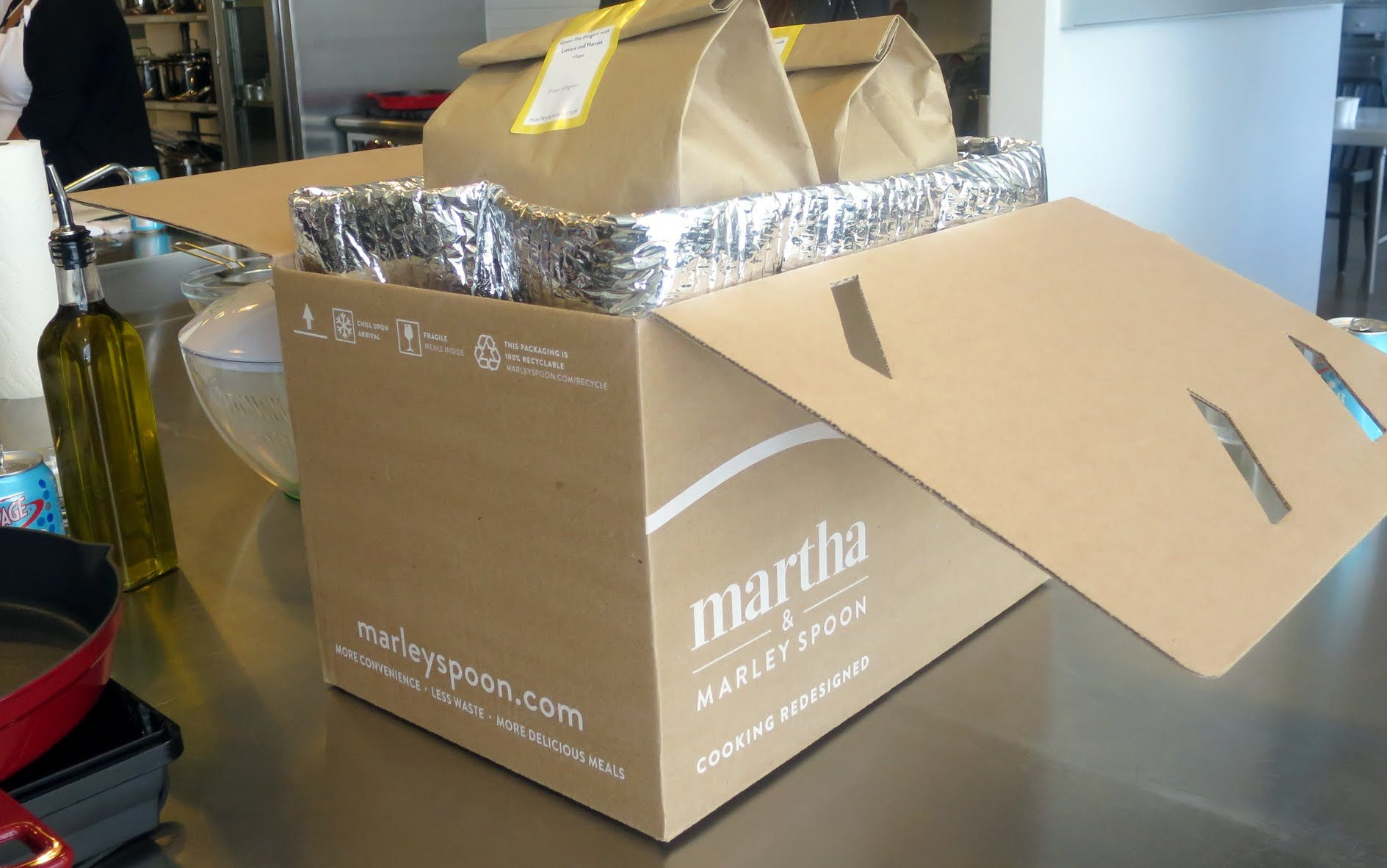 Meals like these Martha Marley Spoon fajitas come in an insulated box for easy retrieval.